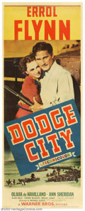 "Movie Posters:Western, Dodge City (Warner Brothers, 1938). Insert (14"" X 36""). Errol Flynntraded in his swashbuckling gear for a cowboy hat and pa..."