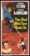 "Movie Posters:Western, They Died With Their Boots On (Warner Brothers, 1945). Three Sheet(41"" X 81""). Director Raoul Walsh replaced Michael Curtiz..."