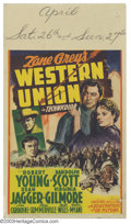 "Movie Posters:Western, Western Union (20th Century Fox, 1941). Midget Window Card (8"" X14""). Based on a story by Zane Grey, this film tells the st..."