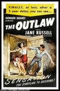"Movie Posters:Western, Outlaw,The (United Artists, 1946). One Sheet (27"" X 41""). Thiscontroversial western was made by Howard Hughes in 1938 but n..."