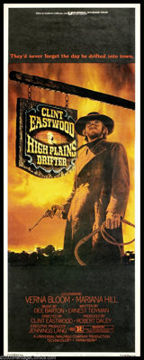 "High Plains Drifter (Universal, 1974). Insert (14"" X 36""). A dark classic with Clint Eastwood as a mysterious..."