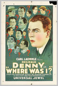 "Movie Posters:Comedy, Where Was I? (Universal, 1925). One Sheet (27"" X 41""). During thesilent era, Reginald Denny was popular in films for portra..."