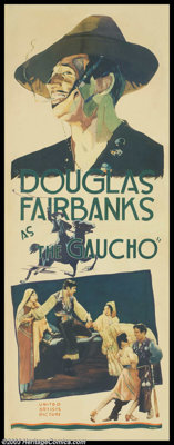 "The Gaucho (United Artists, 1927). Insert (14"" X 36""). Douglas Fairbanks was the Gaucho -- the charismatic lea..."