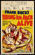 """Movie Posters:Adventure, Bring 'Em Back Alive (RKO, 1932). Window Card (14"""" X 22""""). AnAdventure / Documentary about an American animal trapper that ..."""