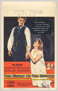 "Night of the Hunter (United Artists, 1955). Window Card (14"" X 22""). Charles Laughton, making his one and only..."