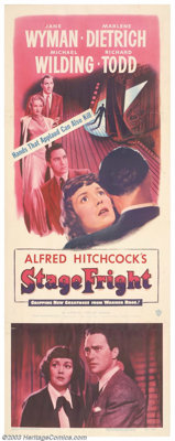 """Stage Fright (Warner Brothers, 1950). Insert (14"""" X 36""""). Spotted running from the scene of a murder, Richard..."""
