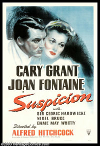 "Suspicion (RKO, 1941). One Sheet (27"" X 41""). In another performance as a newlywed, Joan Fontaine earned an Os..."