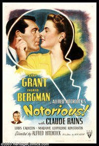 """Notorious (RKO, 1946). One Sheet (27"""" X 41""""). Positively one of Alfred Hitchcock's cinematic masterpieces, &qu..."""