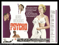 "Psycho (Paramount, 1960). British Quad (30"" X 40""). Here's another great format for this title, the British Qu..."