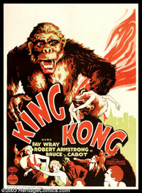 "King Kong (RKO, 1933). Belgian (24"" X 33""). ""How would you like to star opposite the tallest, darkest lea..."