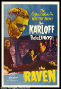 """Movie Posters:Horror, The Raven (Film Classics, R-1949). One Sheet (27"""" X 41""""). The Titans of Terror, Boris Karloff and Bela Lugosi, star in this ..."""