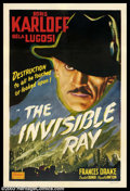 "Movie Posters:Horror, Invisible Ray (Realart, R-1951). One Sheet (27"" X 41""). Boris Karloff gets to be the mad scientist this time around in this ..."