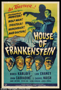 "Movie Posters:Horror, House of Frankenstein (Universal, 1944). One Sheet (27"" X 41""). Boris Karloff returns to the ""Frankenstein"" series, but this..."