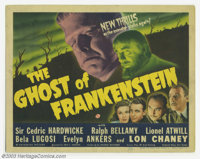 "Ghost of Frankenstein (Universal, 1942). Title Card (11"" X 14""). Lon Chaney donned Jack Pierce's makeup to bec..."