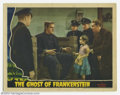 "Movie Posters:Horror, Ghost of Frankenstein (Universal, 1942). Lobby Card (11"" X 14""). Frankenstein's Monster (Lon Chaney) wants the brain of a li..."