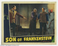 "Movie Posters:Horror, Son of Frankenstein (Universal, 1939). Lobby Card (11"" X 14"").Basil Rathbone, Bela Lugosi and Boris Karloff star in this in..."