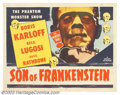 "Movie Posters:Horror, Son of Frankenstein (Realart, R-1953). Half Sheet (22"" X 28""). Universal followed the tremendous success with ""The Bride of ..."