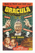 "Movie Posters:Horror, Dracula (Realart, R-1951). One Sheet (27"" X 41""). In 1951, Universal Pictures changed the name of their subsidiary company f..."