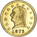 California Fractional Gold, 1872 25C Washington Round 25 Cents, BG-818, Low R.4, MS64 PCGS....