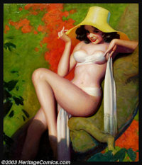 Enoch Bolles (1883-1976) Original Pin-up Art (c.1935). Probably published as a cover for Breezy Stories, or similar pul...