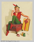 Original Illustration Art:Pin-up and Glamour Art, Forest Clough (1910-1985) Original Pin-up Art (1955-1960).. Titledon verso: Christmas Elf.. Oil on canvas, approximatel...