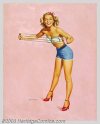 Edward D' Ancona - Original Pin-up Art (c.1950). Titled: Limbering Up and Mussel Builder, published by the Louis F