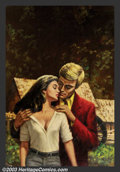 Original Illustration Art:Pulp, Pulp-like, Digests and Paperback Art, Dumont - Original Paperback Cover Art (1970-1975).. Oil on board,image size approximately 22 x 15. Signed lower right.. ...