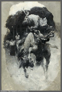 Harvey Dunn (1884-1952) Original Magazine Story Illustration (1911). Oil en grisaille on canvas, approximately 30 x 20...
