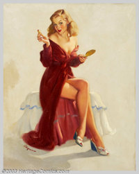 Gillette Elvgren (1914-1980) Original Pin-up Art (1948). This Doesn't Seem to Keep the Chap From My Lips, published as...