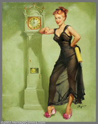 "Gillette Elvgren (1914-1980) Original Pin-up Art (c.1948-1949). The Honeymoon's Over, appeared as ""May"" in the..."
