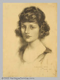 Original Illustration Art:Mainstream Illustration, John Knowles Hare (1884-1947) Original Illustration (1921)..Charcoal on paper, image size approximately 21 x 15. Signed and...