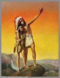 Original Illustration Art:Mainstream Illustration, Adelade Hiebel - Original Calendar Art (c.1932).. Hiawatha'sHoneymoon, published by the Gerlach-Barklow Calendar Compan...