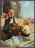 "Original Illustration Art:Mainstream Illustration, Henry ""Hy"" Hintermeister - Original Calendar Art (1940-1950).. Partof the famous Gramps calendar series.. Oil on canvas..."