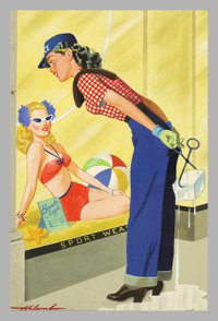 Dal Holcomb - Original Magazine Cover Art (1944). Tab June 17, 1944. Gouache on board, image size is approximately 21...