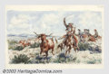 Original Illustration Art:Mainstream Illustration, Irtz - Original Illustration (1932).. Titled: Caballeros RopingLonghorn Cattle.. Mixed media on paper, framed (20.5 x 2...