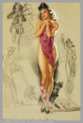 """Original Illustration Art:Pin-up and Glamour Art, K. O. Munson - Original Pin-up Art (c.1950).. Appeared as""""November"""" in the 1950 calendar for Munson's Artist's SketchPad... (Total: 3 items Item)"""