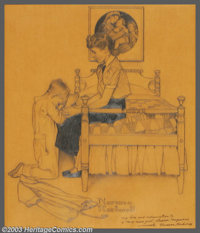 Norman Perceval Rockwell (1894-1978) Original Preliminary Illustration (1949). Titled: A Christmas Prayer. Study for a...