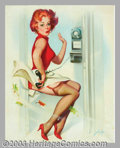 "Original Illustration Art:Pin-up and Glamour Art, Donald ""Rusty"" Rust - Original Pin-up Art (c.1955).. Vintagepainting by Rust, as indicated by the earlier form of his signa..."
