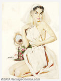 Original Illustration Art:Pin-up and Glamour Art, Mauro Scali - Original Pin-up Art (c.1960).. Gouache on board,framed (22.5 x 19), sight size approximately 14 x 10.5. Signe...
