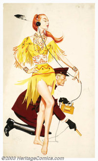 Fredric Varady - Original Magazine Story Illustration (1955). For The Great Lewis and George Expedition by Hannibal Coo...