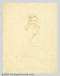 Alberto Vargas (1896-1982) Original Pin-up Preliminary (c.1943). A study for an Esquire playing card pin-up. Graphite...