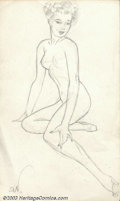 Original Illustration Art:Pin-up and Glamour Art, Alberto Vargas (1896-1982) Original Pin-up Sketch (c.1950).. Mostlikely drawn by Vargas as part of his early conceptions fo...