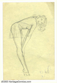 Alberto Vargas (1896-1982) Original Pin-up Sketch (c.1950). Drawn by Vargas as part of his early conceptions for the Var...