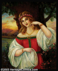 Hy Whitroy - Original Glamour Art (c.1915) Birute', a 14th century Lithuanian priestess. An early example of a fine art...