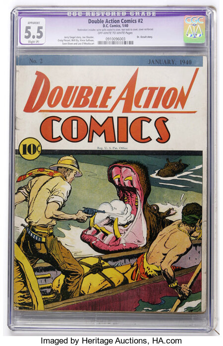 Double Action Comics #2 (DC, 1940) CGC Apparent FN- 5.5 Slight (P) Off-white to white pages....