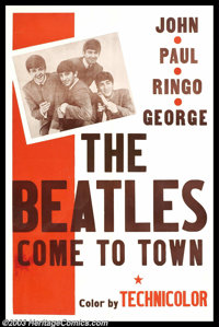 "Beatles - Music Memorabilia Poster, ""The Beatles Come to Town"" One Sheet (1964). This 27"" x 41"" post..."