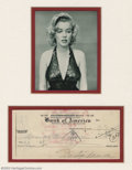 Hollywood Memorabilia:Autographs, Marilyn Monroe - Signed Bank Check. Autograph collecting wasvirtually born out of the public's fascination with stage and s...