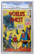 Golden Age (1938-1955):Superhero, World's Finest Comics #77 (DC, 1955) CGC VF+ 8.5 Off-white pages....