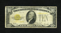 Small Size:Gold Certificates, Fr. 2400 $10 1928 Gold Certificate. Very Good-Fine.. Tiny edge tears are spotted on top. The overprint ink fades to a state ...
