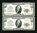 National Bank Notes:Pennsylvania, Consecutive Pair of Grove City, PA - $10 1929 Ty. 1s The Grove CityNB Ch. # 5501. This Extremely Fine pair exhibits... (Total: 2notes)